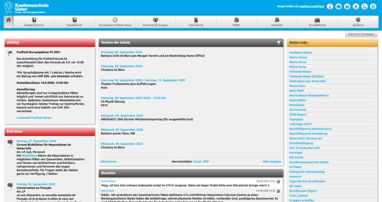 Das Dashboard eines Admins mit zusätzlichem Backend-Modul