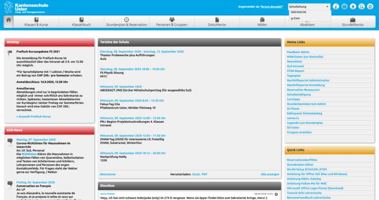 Das Dashboard eines Benutzers, welcher verschiedene Rollen einnehmen kann