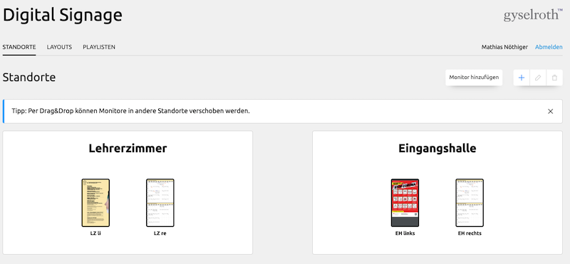 Cockpit Digital Signage Lösung bei der Kantonsschule Zimmerberg